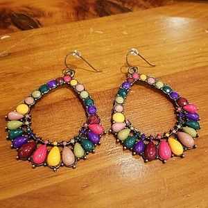"Multicolor Teardrop 3"" Earrings"